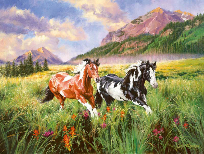 Mountain Stroll Horses Jigsaw Puzzle