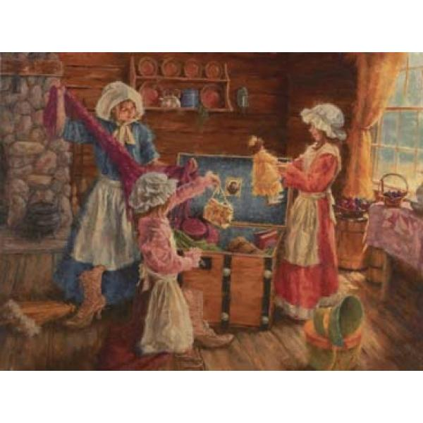 Aunt May's Travel Trunk Countryside Jigsaw Puzzle