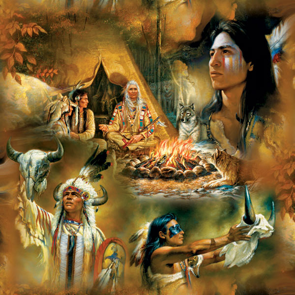 Native American Dreams Collage Jigsaw Puzzle