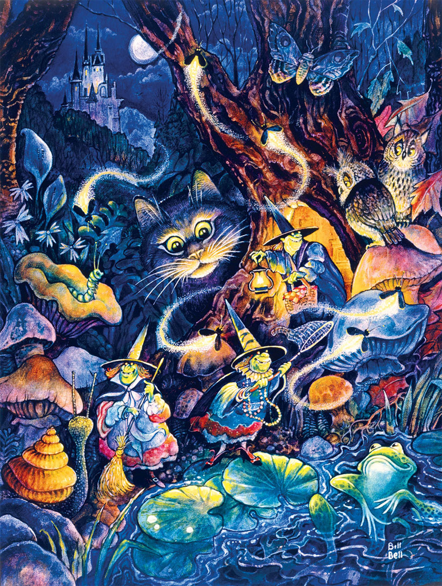 Three Witches Cats Jigsaw Puzzle