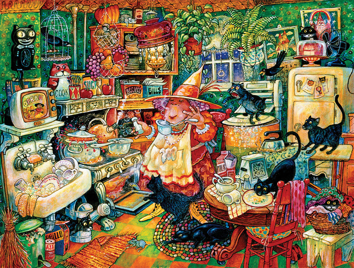 Witchin' kitchen Cats Jigsaw Puzzle