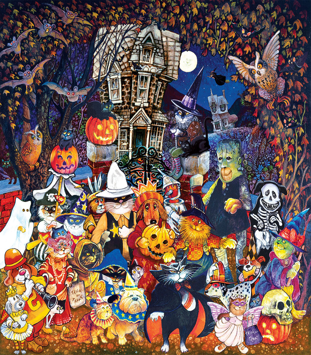 Cats and Dogs on Halloween Animals Jigsaw Puzzle
