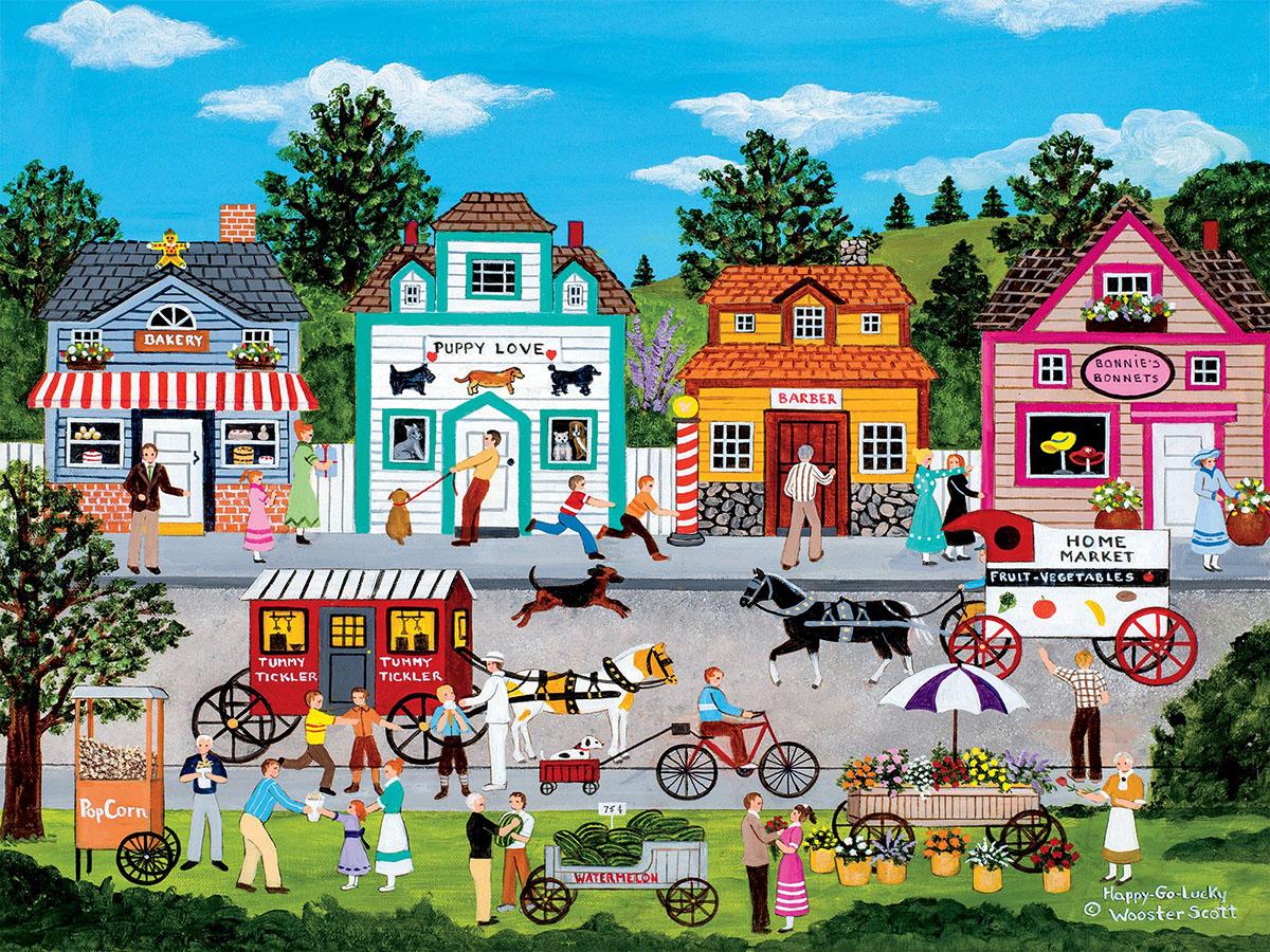 Happy Go Lucky  (Jane Wooster Scott) Americana & Folk Art Jigsaw Puzzle