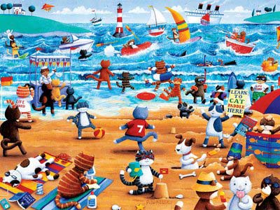 Beach Cats (Paws & Claws) - Scratch and Dent Beach Jigsaw Puzzle