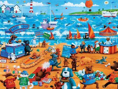 Cats and Dogs (Paws & Claws) Beach Jigsaw Puzzle