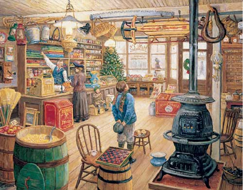 The Olde General Store Christmas Jigsaw Puzzle