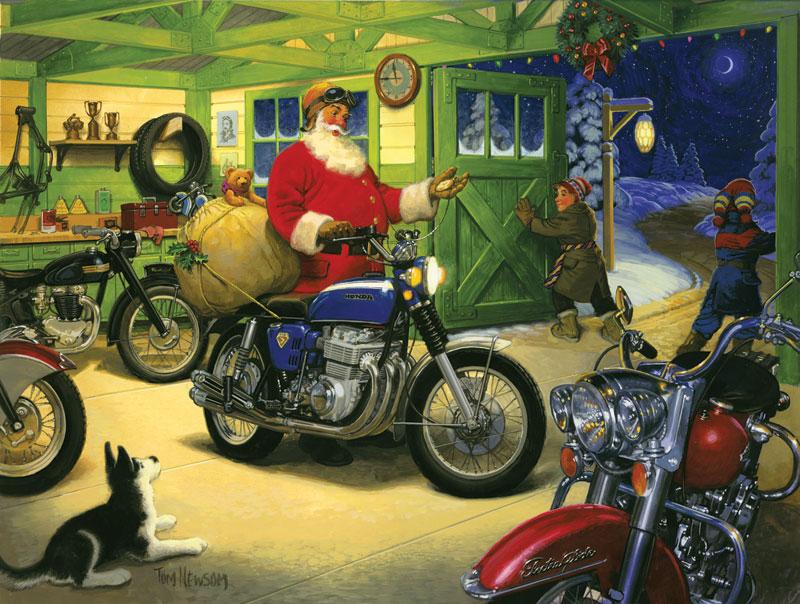 Motorcycle Santa Christmas Jigsaw Puzzle
