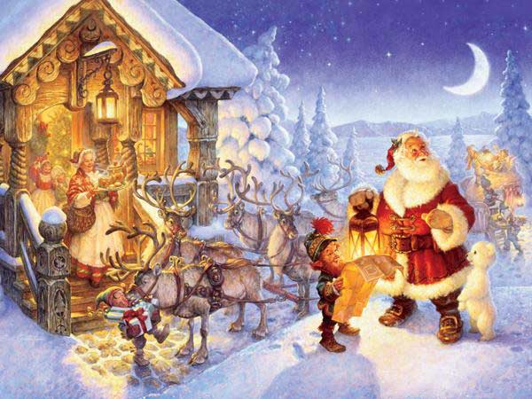 Santa at the North Pole Christmas Jigsaw Puzzle