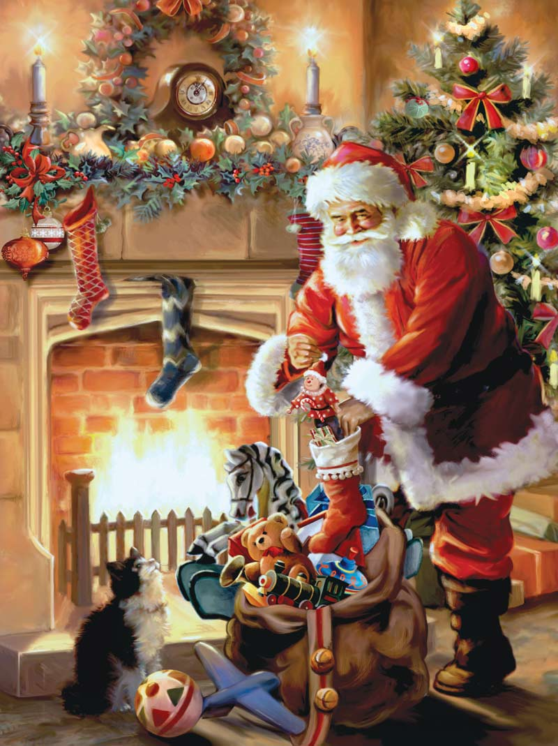 Holiday Traditions - A Visit from Santa Claus! Christmas Jigsaw Puzzle