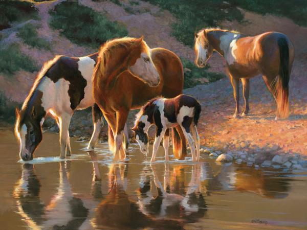 Wild Horses - Night Cap Horses Jigsaw Puzzle
