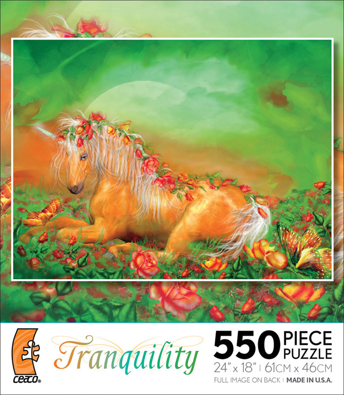 Tranquility - Unicorn of the Roses Unicorns Jigsaw Puzzle