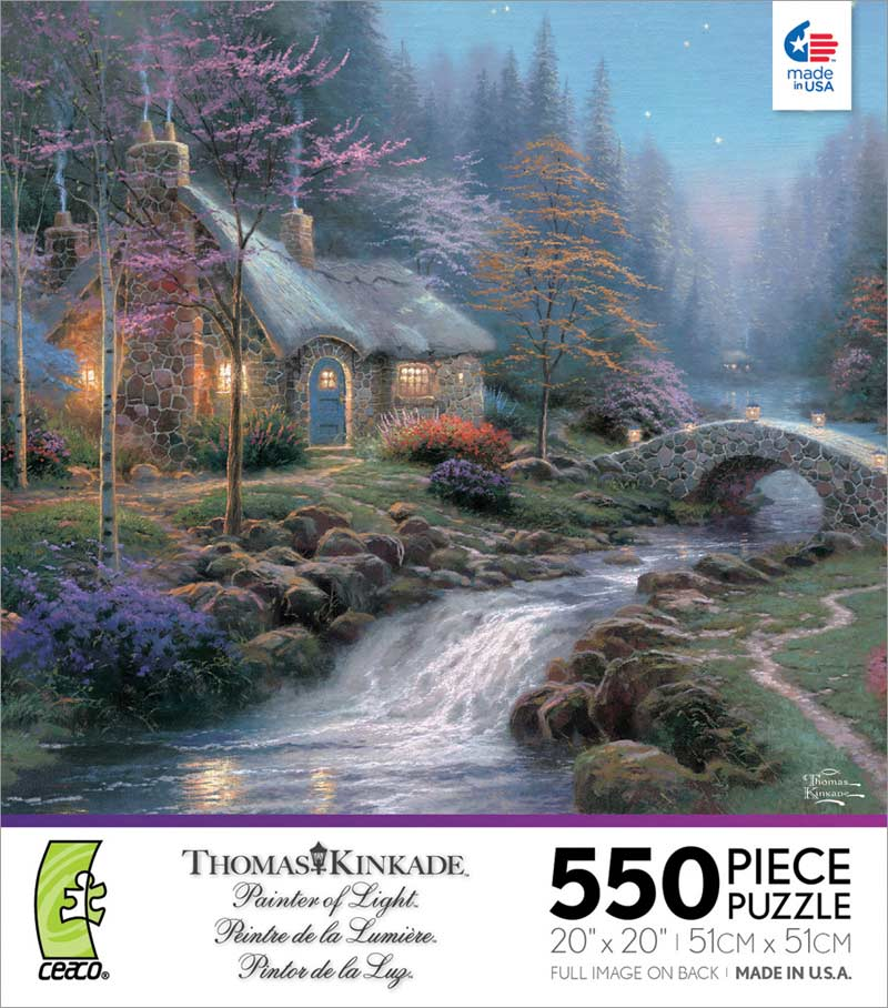 Kinkade - Twilight Cottage Countryside Jigsaw Puzzle