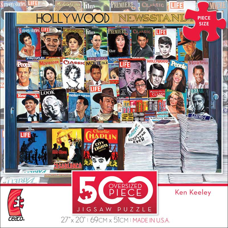 Hollywood Newsstand (500 Piece Oversized Puzzle) - Scratch and Dent Famous People Jigsaw Puzzle