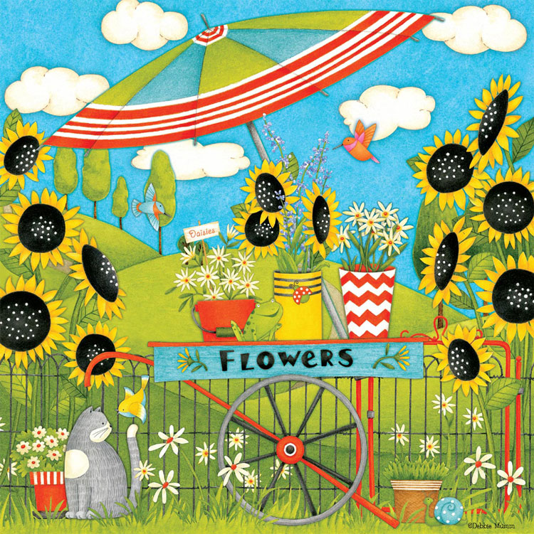 Flower Cart (Debbie Mumm) - Scratch and Dent Flowers Jigsaw Puzzle