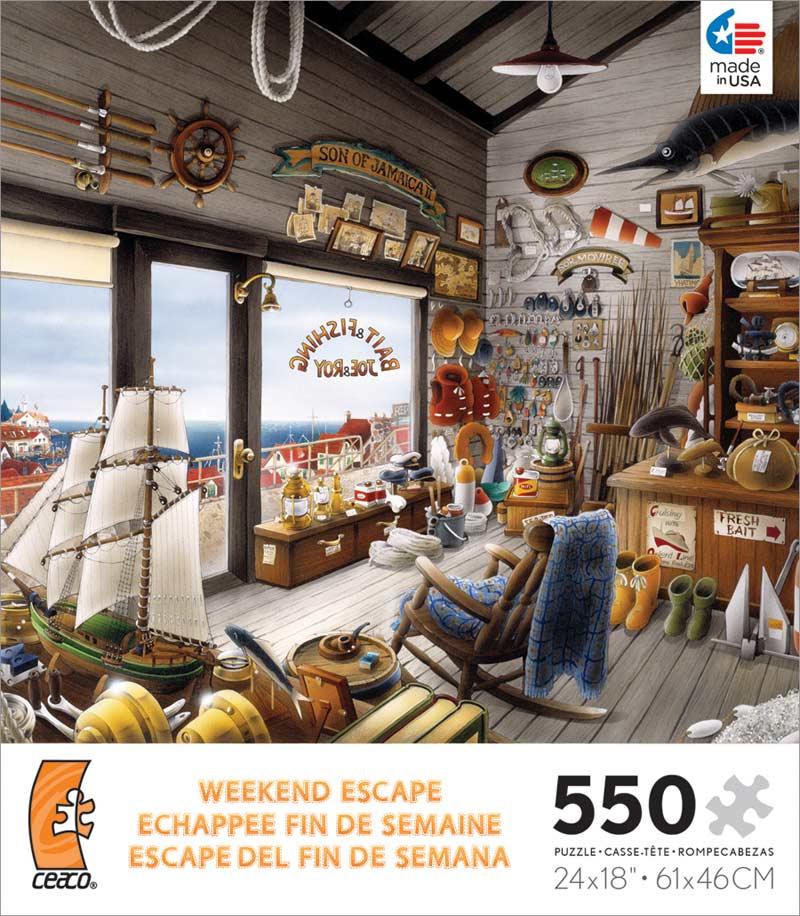 Weekend escape joe roy bait fishing shop jigsaw puzzle for Escape puzzle