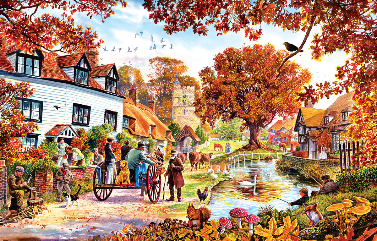Village in Autumn Fall Jigsaw Puzzle