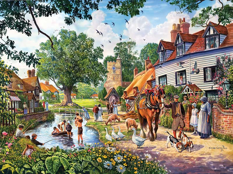 A Village Summer - Scratch and Dent Animals Jigsaw Puzzle