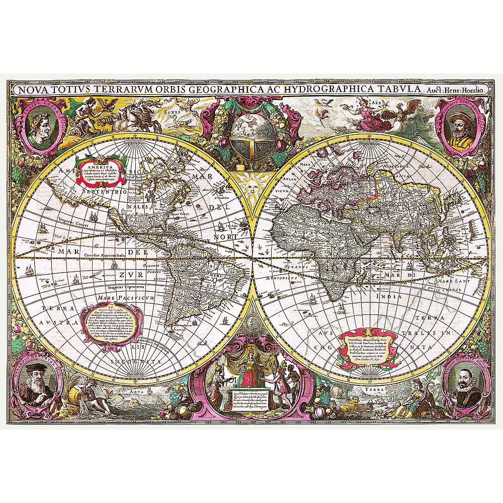 A New Land And Water Map Of The Entire Earth, 1630 Maps / Geography Jigsaw Puzzle