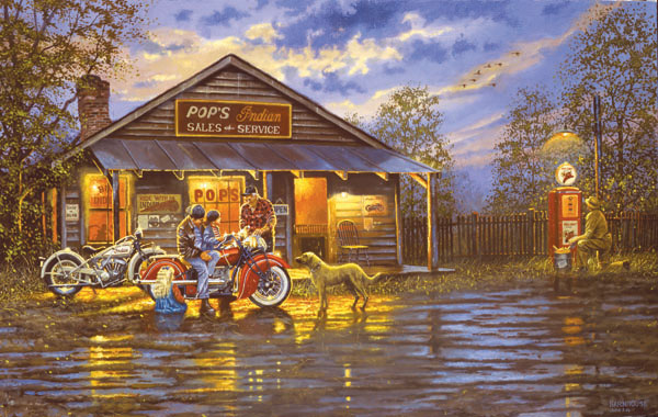 Small Town Service Motorcycles Jigsaw Puzzle