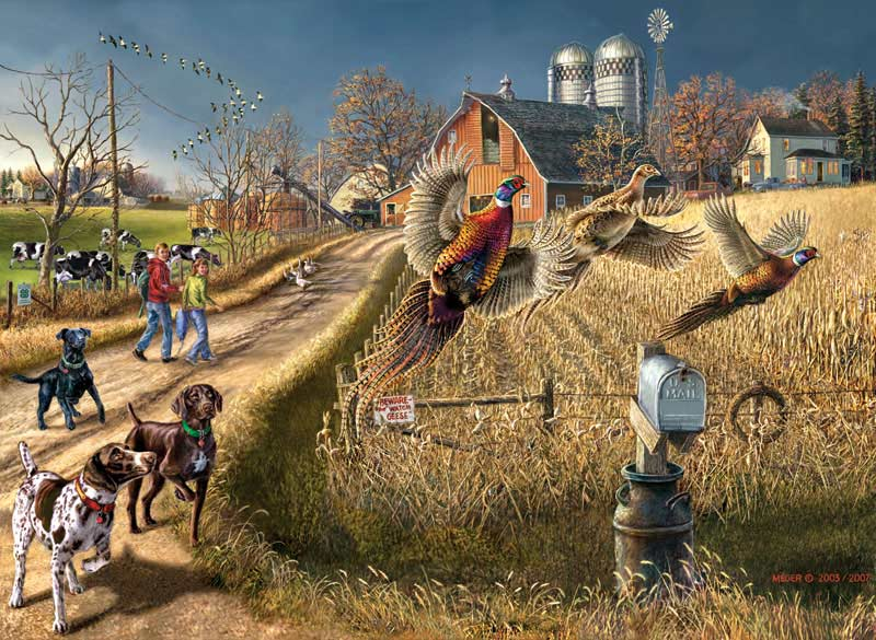 Roadside Ringnecks Farm Jigsaw Puzzle