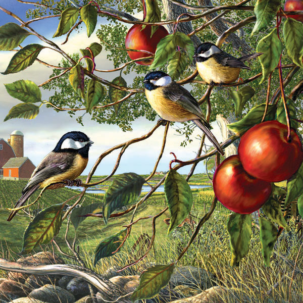 Chickadees and Apples Birds Jigsaw Puzzle