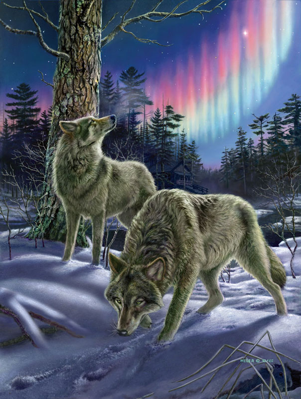 Night Lights Wolves Jigsaw Puzzle