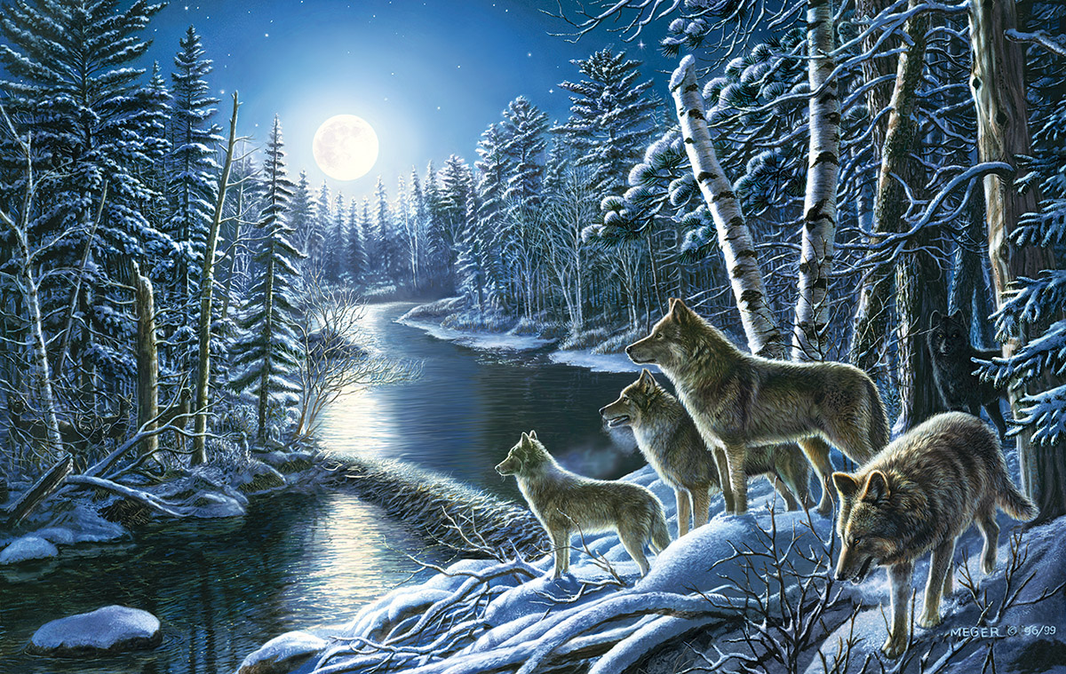 Silent Shadows Wolves Jigsaw Puzzle