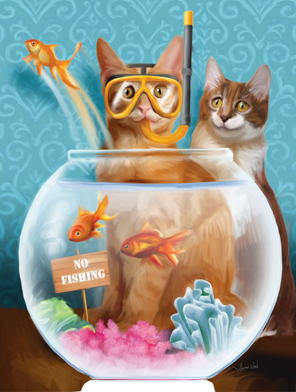 No Fishing! Cats Children's Puzzles