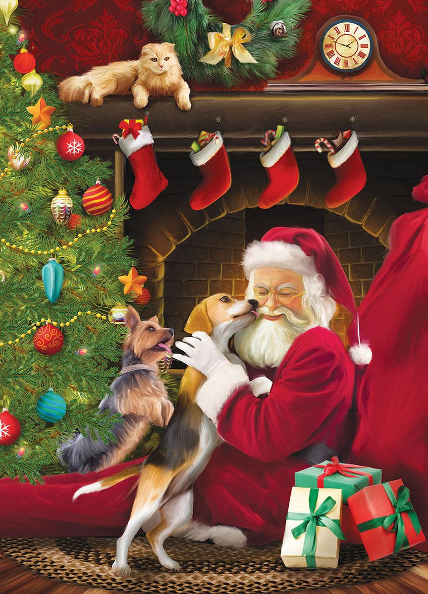 Santa's Kisses Dogs Jigsaw Puzzle