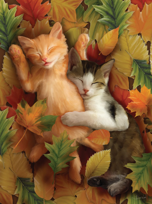 Autumn Nap Cats Jigsaw Puzzle