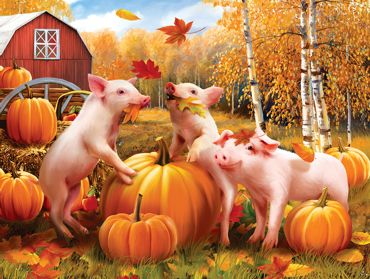 Pigs & Pumpkins Farm Animals Jigsaw Puzzle