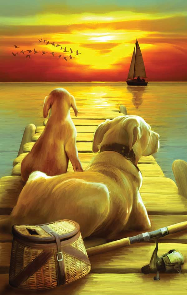 Dockside Sunset Dogs Jigsaw Puzzle
