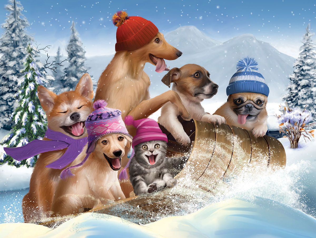 Winter Fun Dogs Jigsaw Puzzle