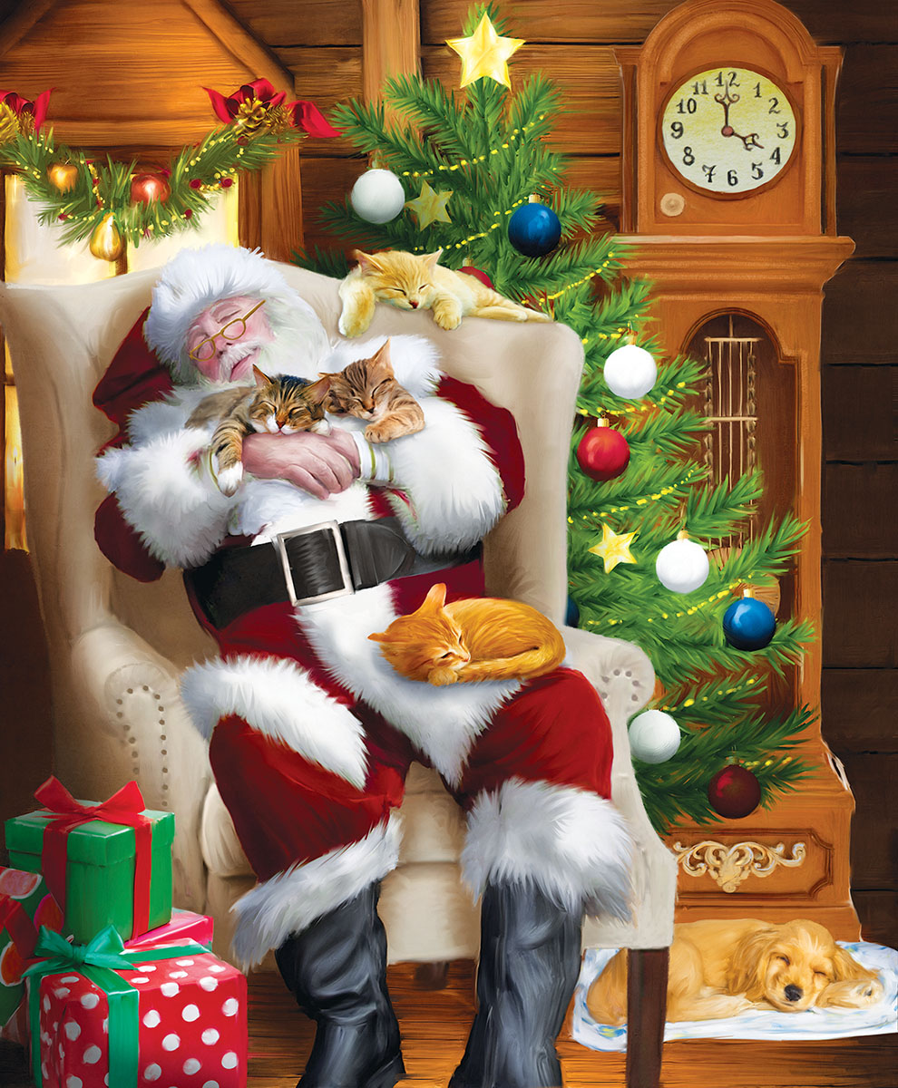 Santa and His Cats - Scratch and Dent Cats Jigsaw Puzzle