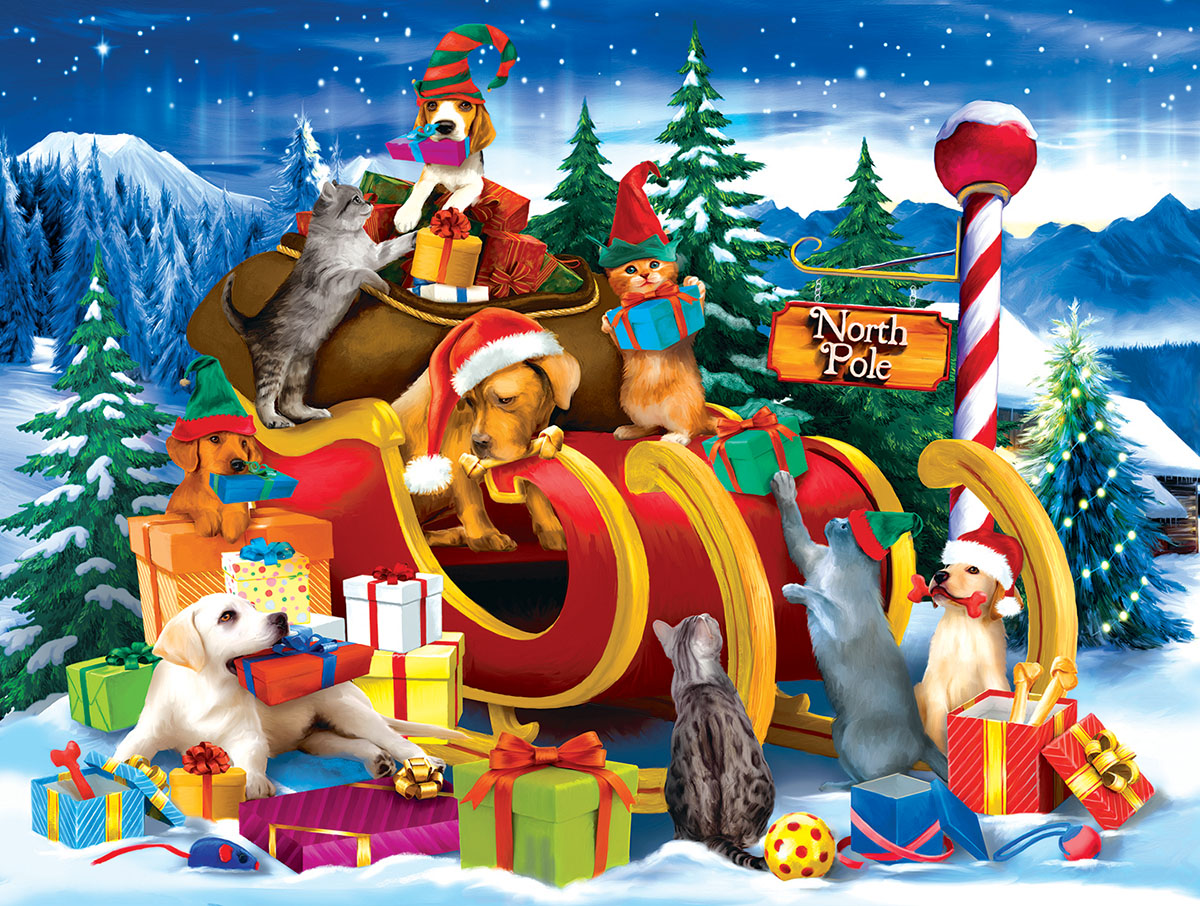 Opening Presents Christmas Jigsaw Puzzle