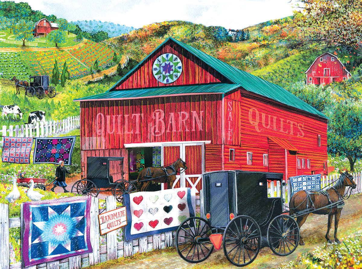Stopping at the Quilt Barn Farm Jigsaw Puzzle