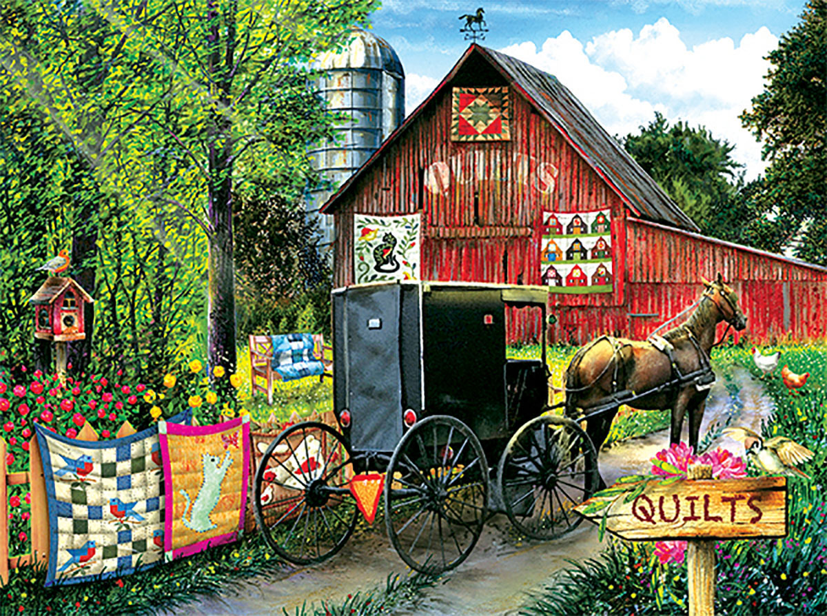 Amish Quilt Sale Farm Jigsaw Puzzle