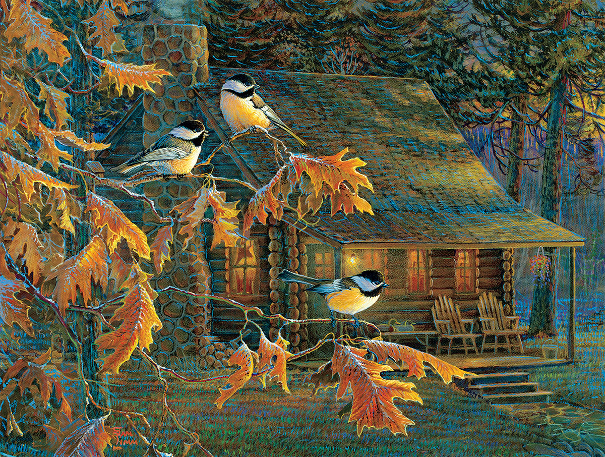 Cabin Chickadees Birds Jigsaw Puzzle