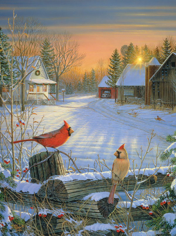 Winter Afternoon Birds Jigsaw Puzzle
