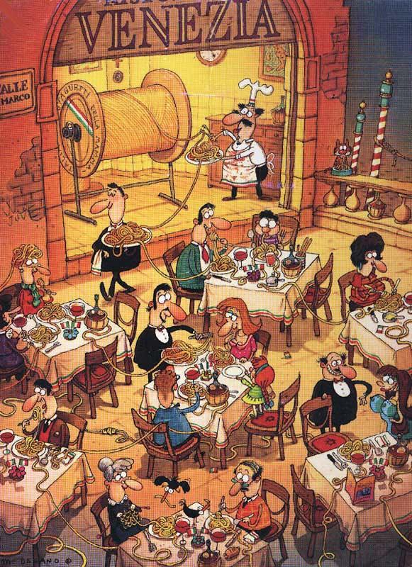 Degano, Pasta Italiana Cartoons Jigsaw Puzzle