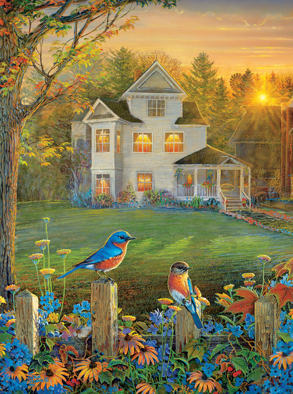 On the Fence Birds Jigsaw Puzzle