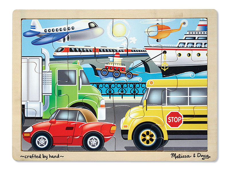 On the Go Vehicles Wooden Jigsaw Puzzle
