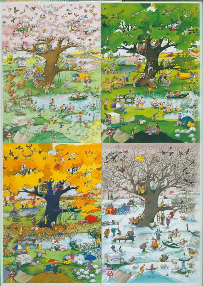 Blachon, 4 Seasons Cartoons Jigsaw Puzzle