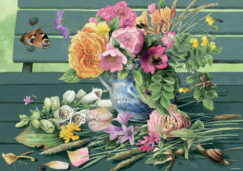Bastin, Bench Flowers Jigsaw Puzzle