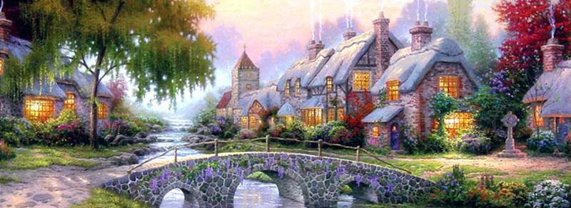 Thomas Kinkade Panoramics Cobblestone Bridge Jigsaw