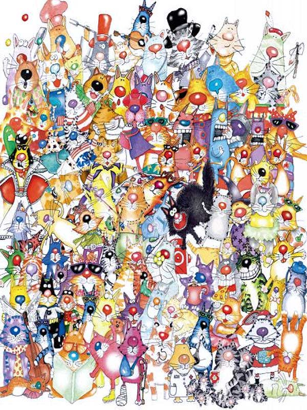 One Hundred Cats Amp A Fish Jigsaw Puzzle Puzzlewarehouse Com