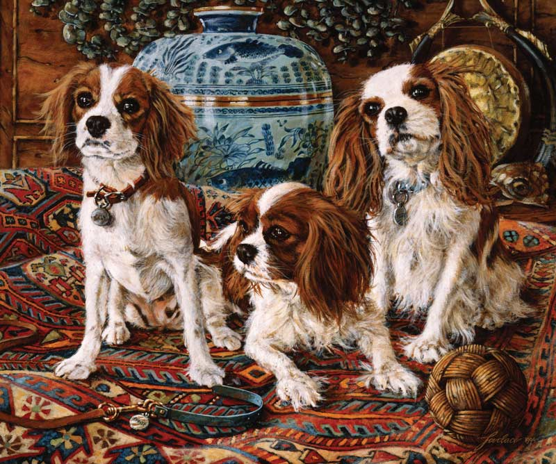 3 cavaliers Dogs Jigsaw Puzzle