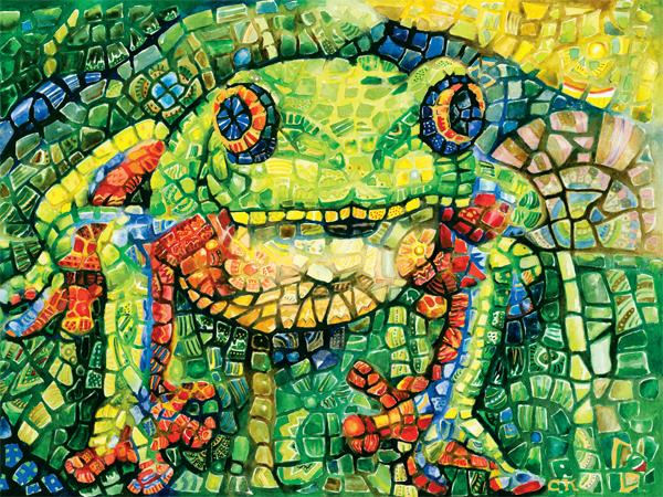 Mosaic Frog – 7in. - Pool Tile Mosaics