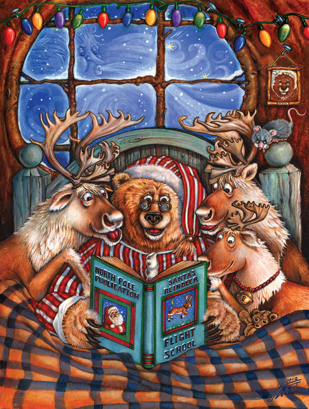 Reindeer Flight School Christmas Jigsaw Puzzle