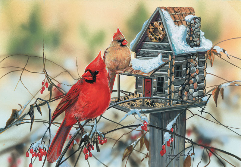 Cardinal's Rustic Retreat Birds Jigsaw Puzzle